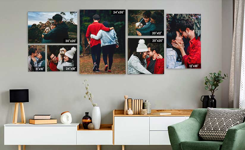 Different sizes of canvas prints shown on banner of canvaschamp canada