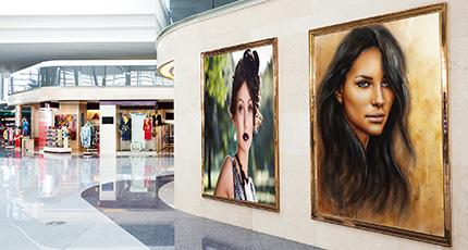 Blank poster board wall in modern shopping mall - poster board wall art