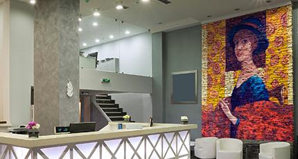 Interior of a hotel reception, modern style.- hotel reception wall art