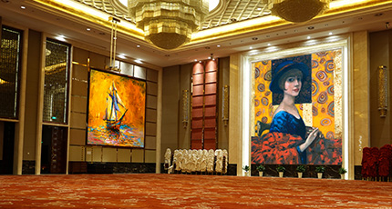 Huge Hall interior with red carpet and ceiling with lights in Hotel - Hall interior Wall Art