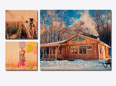 Three Wood Print Panels